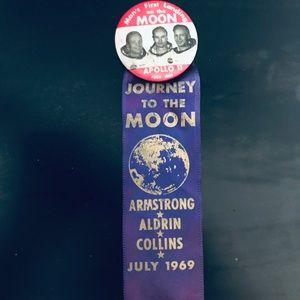 Apollo 11 1969 Vintage Button &50thAnniv. Ed. Mag.